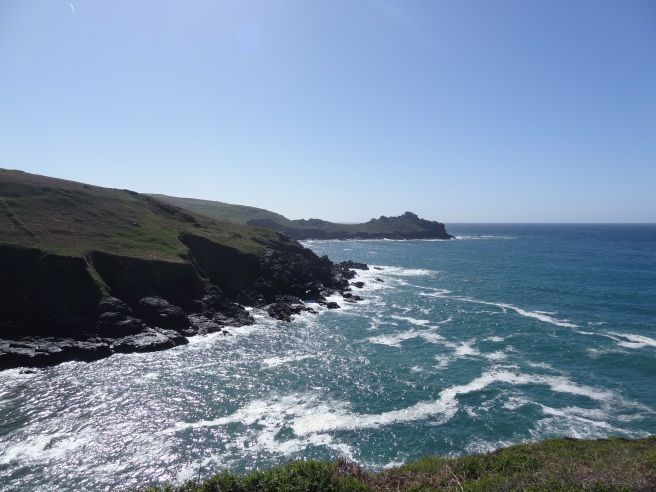 The cliffs at Boswednack are 100 feet high and of black sedimentary rock. Here we're close to Zennor headland looking back with Gurnard's Head in the distance.